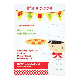 Convites do menino do partido da pizza