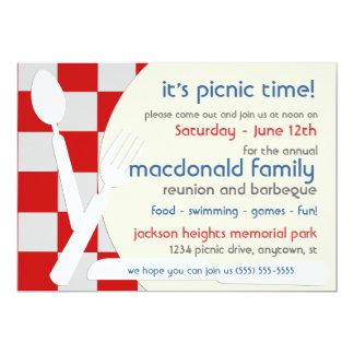 Convites do piquenique da reunião de família convite 12.7 x 17.78cm