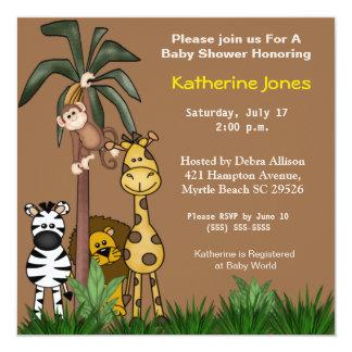 Convites do safari de selva convite quadrado 13.35 x 13.35cm