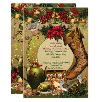 Convites do tea party do Natal do feriado