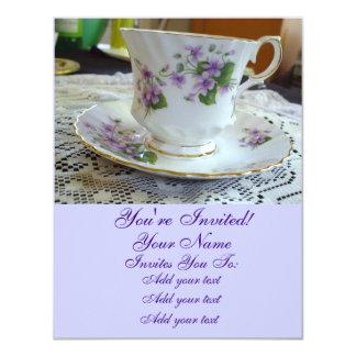 Convites do Teacup das violetas do Tempo-Vintage