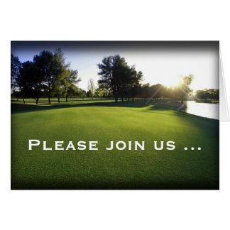 Convites dobrados do cartão do golfe excursão