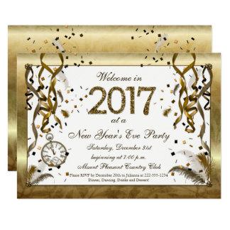 Convites dourados da véspera de ano novo