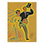 Convites dourados do aniversário do vintage os 50t