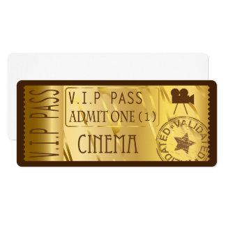 Convites dourados do bilhete do filme
