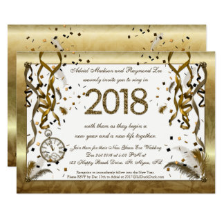 Convites dourados do casamento da véspera de ano