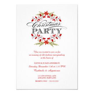 Convites elegantes da festa de Natal da grinalda