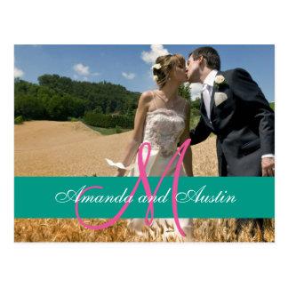 Convites elegantes da foto do casamento vintage cartão postal