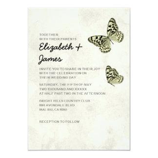 Convites elegantes do casamento da borboleta convite 12.7 x 17.78cm