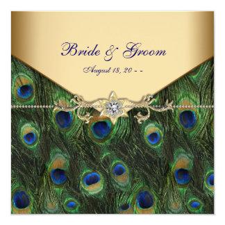 Convites elegantes do casamento do pavão do ouro
