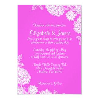 Convites elegantes do casamento do rosa quente