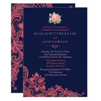 Convites elegantes do marinho & do casamento do