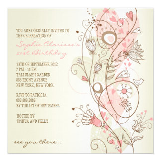 Convites femininos florais do aniversário do vinta