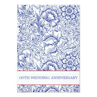 convites florais azuis do aniversário de casamento