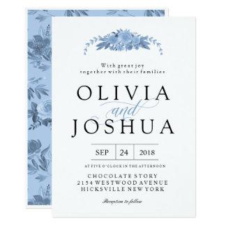Convites florais azuis do casamento