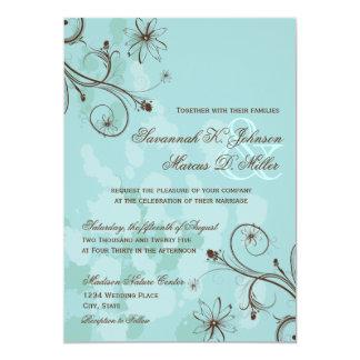 Convites florais azuis do casamento de Brown do