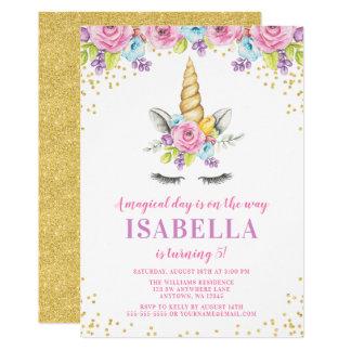 Convites florais do aniversário do unicórnio da