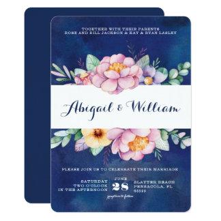 Convites florais do casamento da aguarela do