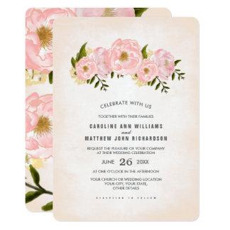 Convites florais do casamento da pintura da