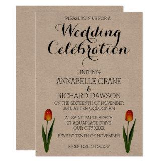 Convites florais do casamento de Ecru da tulipa