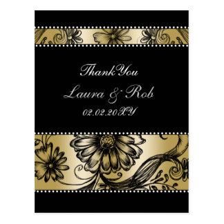 Convites florais do casamento do preto e do ouro