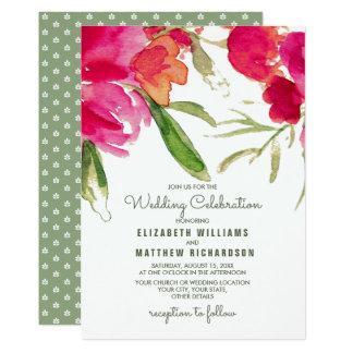 Convites florais românticos do casamento da