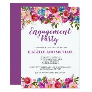 Convites florais roxos da festa de noivado