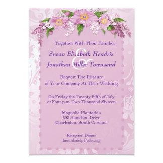 Convites florais roxos do casamento convite 12.7 x 17.78cm