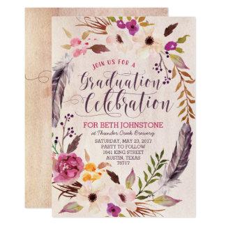 Cartão Convites florais rústicos da graduação da grinalda