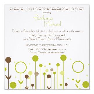 Convites florais verdes do jantar de ensaio do