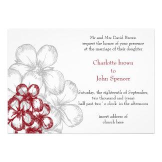 convites florais vermelhos do casamento
