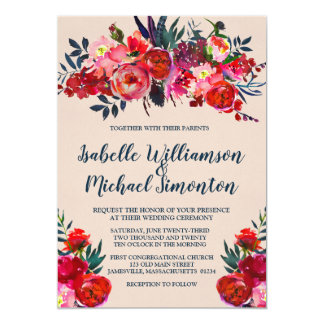 Convites florais vermelhos do casamento de Boho
