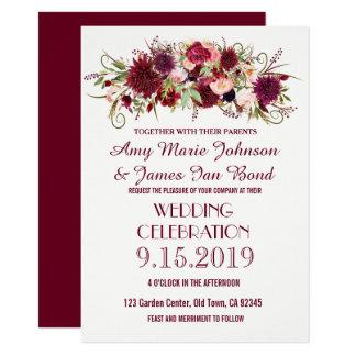 Convites florais vermelhos do casamento de Marsala