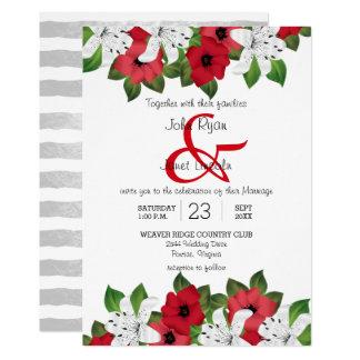 Convites florais vermelhos e brancos do arando do