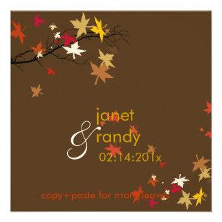 Convites/folhas de bordo do casamento outono