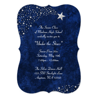 Convites formais do baile de formatura azul de