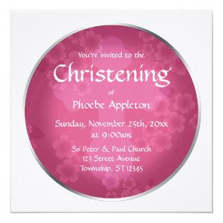 Convites fúcsia do batismo do Watermark floral