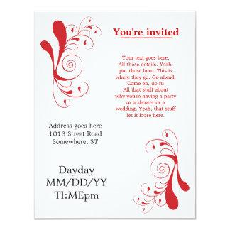Convites genéricos vermelhos de Swirly para alguma