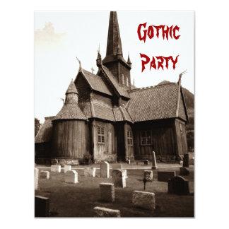 Convites góticos do gótico do cemitério da igreja convite 10.79 x 13.97cm
