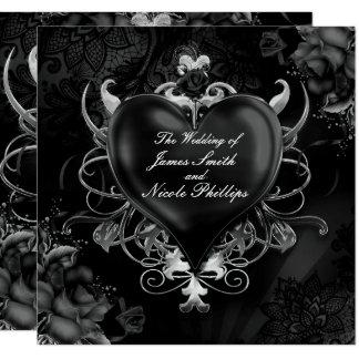 Convites góticos pretos do casamento do coração do