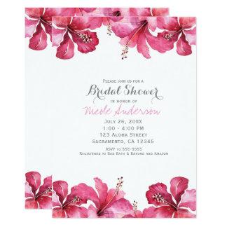 Convites havaianos florais do hibiscus cor-de-rosa