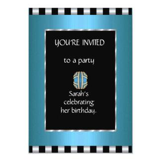 Convites & listra do branco do preto azul do