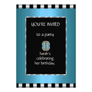 Convites listra do branco do preto azul do anúnc