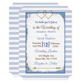 Convites listrados azuis e brancos do casamento do