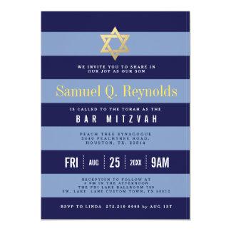 Convites listrados de Mitzvah do bar da estrela de