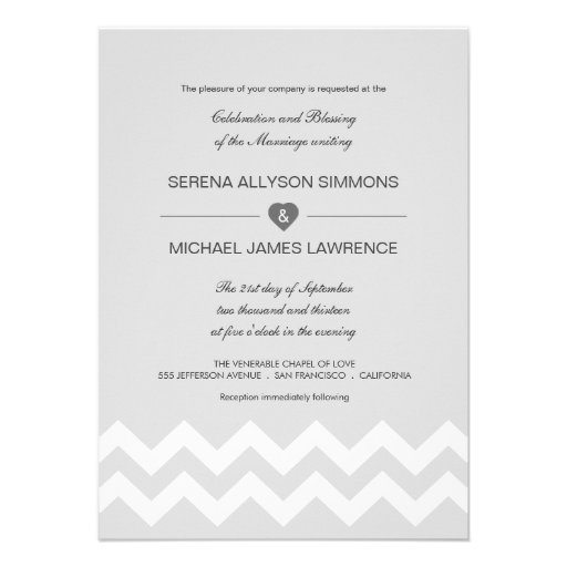 Convites modernos cinzentos & brancos do casamento