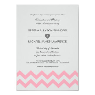 Convites modernos cinzentos & cor-de-rosa do