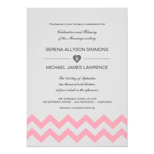 Convites modernos cinzentos & cor-de-rosa do casam