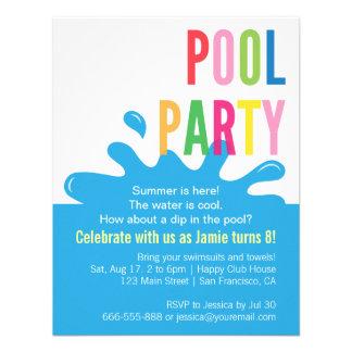 Convites modernos da festa na piscina do aniversár