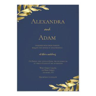 Convites modernos do casamento da grinalda do ouro